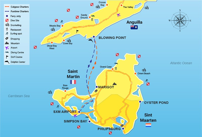 SXM Airport to Anguilla - Route Map