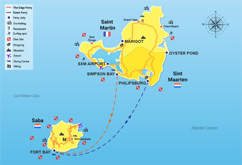 St Maarten to Saba ferry routes map
