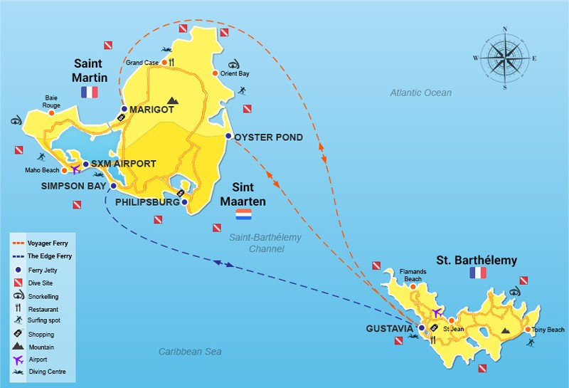 Saint Martin to St Barthélemy all routes